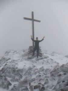 On top of the tallest mountain in Ireland Carrauntoohil at 3405 feet of elevation